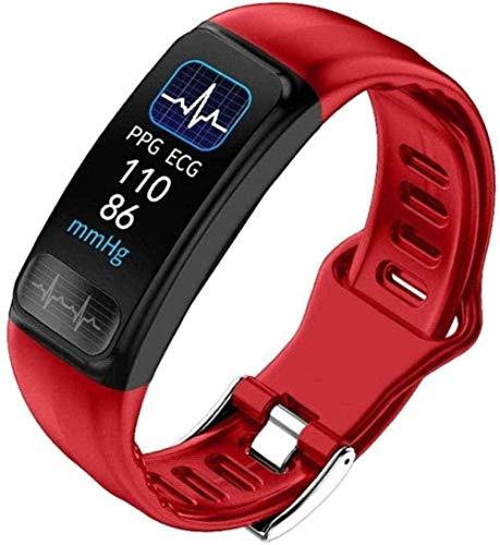 Reloj de fitness con monitor de ritmo cardíaco, reloj inteligente con monitor de sueño, modo deportivo, IP67, resistente al agua, podómetro, función meteorológica, azul, rojo, rojo y rojo