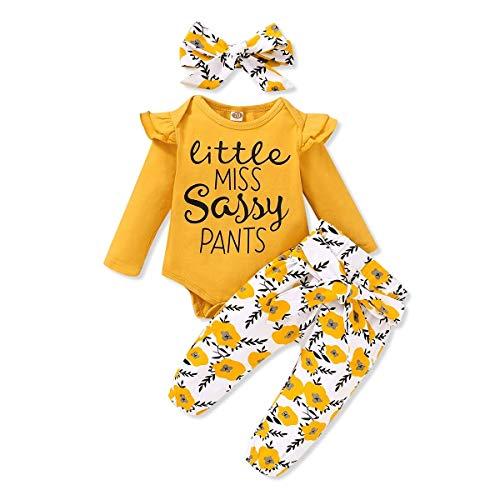 SANMIO 3pcs Bambina Completo Neonato Manica Lunga Balza Lavorata a Pagliaccetto + Stampa Pantaloni + Fascia per Capelli Set
