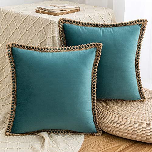 HAUSEIN Juego de 2 fundas de cojín de terciopelo, estilo pastoral, monocolor, decorativas, suaves y cómodas, para el salón, el dormitorio, el sofá (45 x 45 cm, color azul)