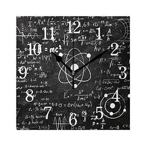 WowPrint Quadratische Wanduhr, Chemie Mathematik Formeln Acryl nicht tickend Uhren Dekorative Kunst Gemälde für Büro Klassenzimmer Zuhause Schlafzimmer Wohnzimmer Badezimmer Küche Dekor