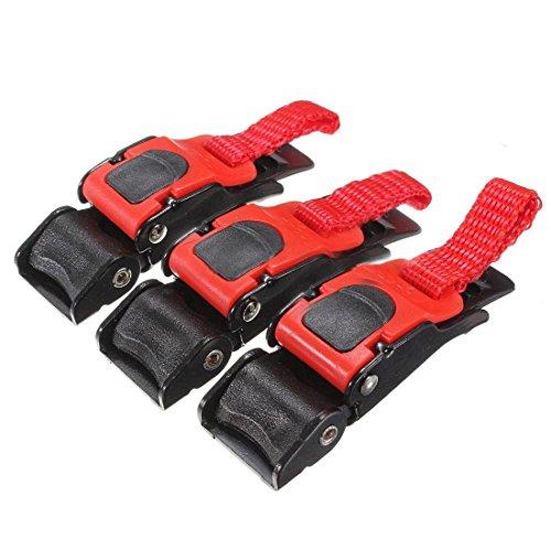 Strip buckle) - TOOGOO (R) 3x New strap strap buckle easy to wear motorcycle plastic helmet black + red