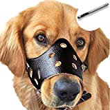 Barkless Dog Muzzle Leather, Comfort Secure Anti-Barking Muzzles for Dog, Breathable and Adjustable, Allows Dringking and Eating, Used with Collars (L, Black)