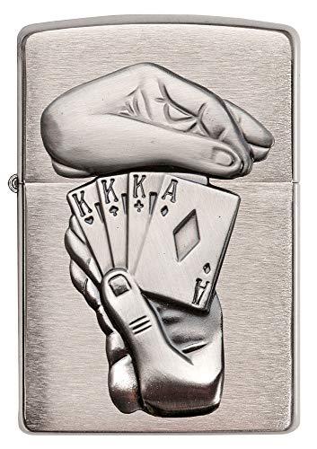 Zippo Feuerzeug 60001208 Trick Poker Benzinfeuerzeug, Messing, high polish chrome, 1 x 3,5 x 5,5 cm