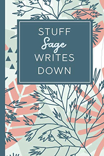 Stuff Sage Writes Down: Personalized Journal / Notebook (6 x 9 inch) STUNNING Tropical Teal and Blush Pink Pattern