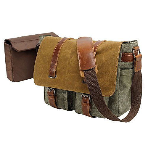VRIKOO Casual Vintage Waterproof Canvas DSLR SLR Camera Shoulder Messenger Bag for Outdoor Hiking Travel (Army Green)