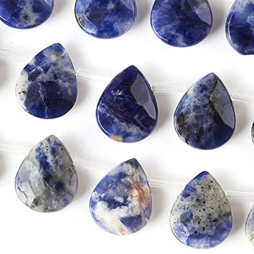 Cherry Blossom Beads Sodalite Beads 12x15mm Faceted Top-Drilled Teardrop - 8 Inch Strand