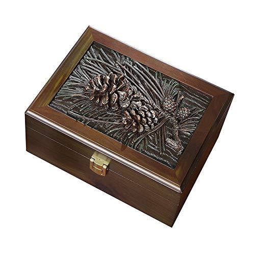Dreamyep Piña De Pino Joyería Caja Con Tapa De Madera Joyería De Gran Capacidad Con La Caja De La Cerradura, Joyas Antiguas Simple Caja De Almacenamiento