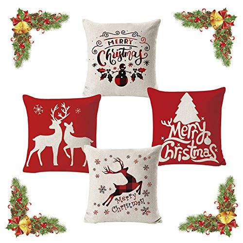 FOGAWA 4pz Fundas Navideñas para Cojines Fundas de Almohada Decorativas con 4 Diferentes Diseño de Navidad Algodón Lino Throw Pillow Case Funda de Almohada (45 * 45cm)