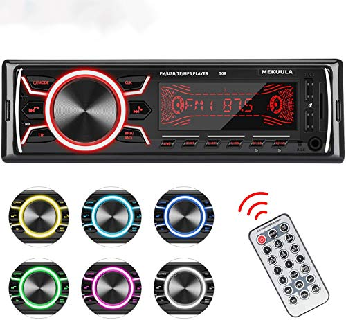 Autoradio Bluetooth MEKUULA Stereo Auto Ricevitore 60W x 4 Auto FM Car Radio 1 DIN Microfono Incorporato,Universal Lettore MP3 Supporto 18 Stazioni di Memoria USB TF AUX WMA WAV,Telecomando