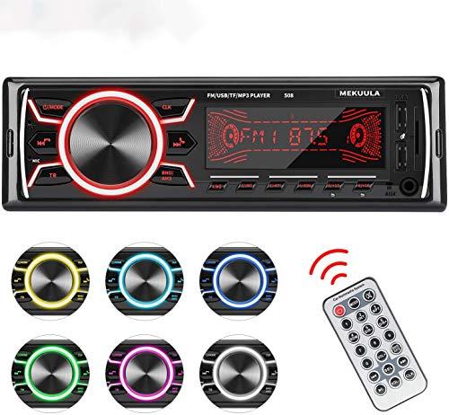 Autoradio Bluetooth MEKUULA Stereo Auto Ricevitore 60W x 4 Auto FM Car Radio 1 DIN Microfono Incorporato,Universal Lettore MP3 Supporto 18 Stazioni di Memoria/USB/TF/AUX/WMA/WAV,Telecomando