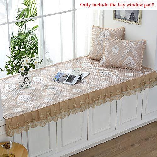 MEVIDA stof vierkant kussensloop, geen glijden, verdikte raampad met kant, huis decoratieve vensterbank mat balkon sofa kussen zitkussen
