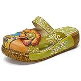 [BININBOX] 厚底サンダル レディース クロッグ・サボ 歩きやすい シューズ 本革 花柄刺繍 3E 5.5cm 婦人靴 旅行にぴったり グリーン 26.0cm(EUR42)