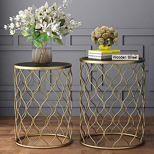 Wooden Street Nest of Bedside End Tables with Glass Top for Bedroom, Living Room & Home Decoration (Set of 2)