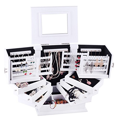 Rowling Large Wooden Jewelry Box Armoire Cabinet Earring Organizer 7 Drawers Mirror 018 (WHITE)