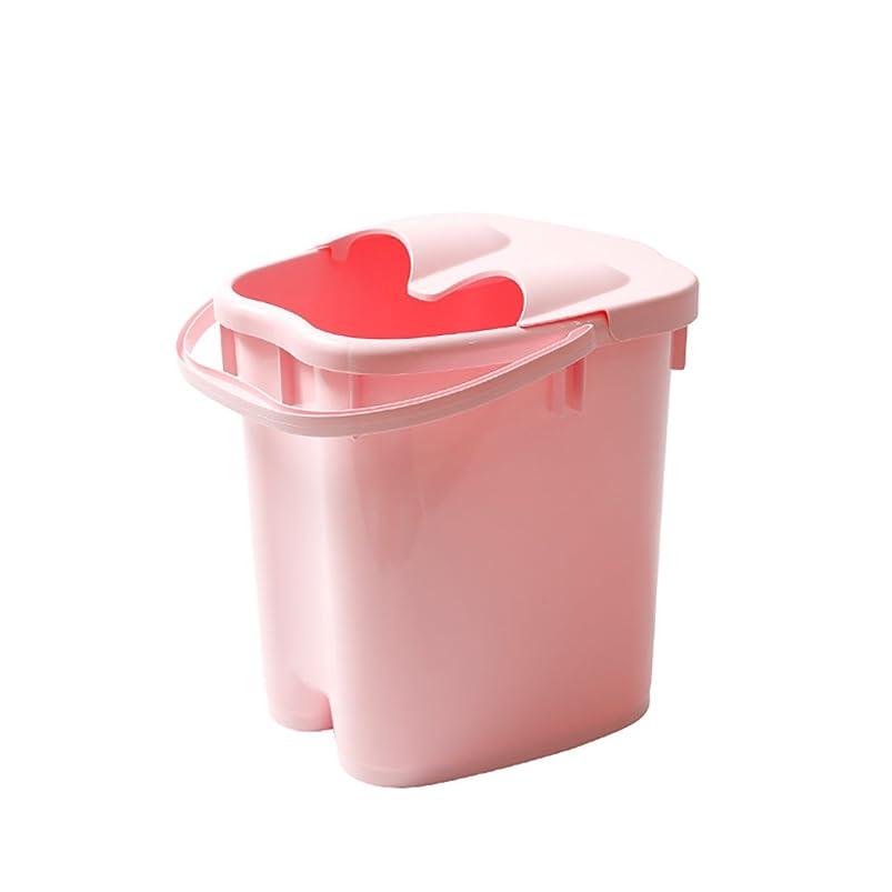 ルアー日食典型的なフットバスバレル厚いプラスチックマッサージフットバスは、家庭の足湯20Lの大容量高水レベルを高め22 * 30 * 40センチメートル (色 : Pink)