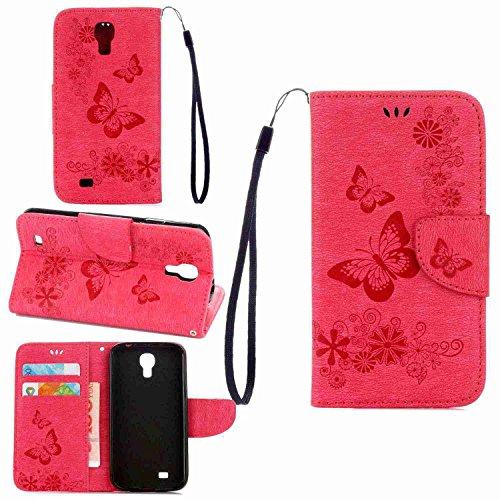 pinlu Funda para Samsung Galaxy S4 Mini (i9190) 4.3 Pulgada Función de Plegado Flip Wallet Case Cover Carcasa Piel PU Billetera Soporte con Ranuras Mariposa Rosa Roja