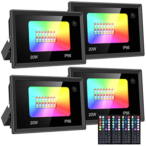 Olafus 4 Packs 20W RGB Flood Lights, Color Changing Lights with 44 Keys Remote Control, IP66 Wall Wash Floodlight for Outdoor Decorative, Dimmable Outside Color Lights, Exterior Uplighting for Party
