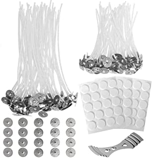 Anvin 100 Pcs Cotton Candle Wicks(4 inch& 6 inch) with 60 Pcs Candle Wick Stickers, 20 Pcs Metal Candle Wick Sustainer Tab...