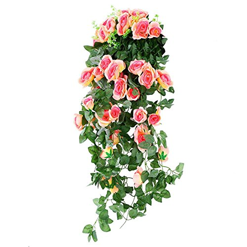 Muzi Artificial Simulation Rose Flower Rattan Fake Flower in Vine Wall Hanging Rattan Glue Cloth for Home Living Room Decoration