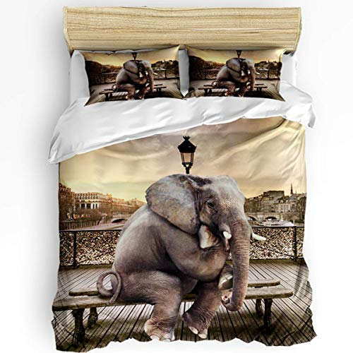 JONINOT 3-Piece Bedding Set Twin Size 86'x70' Funny Elephant (Thin On Bech) Soft Comfy Lightweight Quilt Cover Pillowcases
