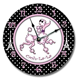 Fancy This Pink Paris Poodle Wall Art Clock Novelty Large 10 1/2