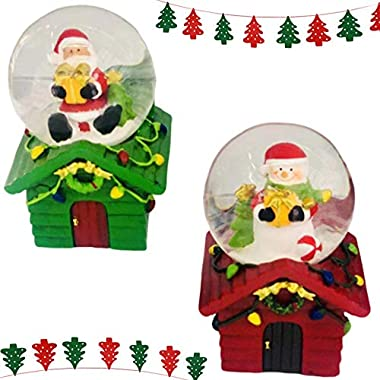 Shatchi Small Christmas Snow Globe Dome Mini Glass Waterball with Snowman & Santa House Base Green Red Xmas Home Decorations 2Pcs Gift Set, one, Red&Green