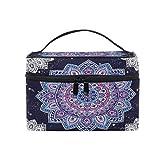 Bolsa de maquillaje, diseño floral étnico mandala portátil de viaje con impresión grande bolsa de cosméticos organizador compartimentos para niñas mujeres señora