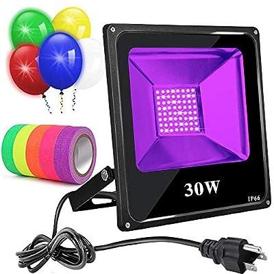 UV Black Light Flood Light Bulb, UV Led Floodlight Outdoor IP66 Waterproof Stage Light for Blacklight Party, Fluorescent Neon Glow Gaffer Tape, Glow in Dark Party, DJ Disco Night Club