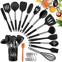 tonsooze utensili da cucina in silicone, 24 pezzi resistente al calore antiaderenti utensili dautensili da cucina, utensili da cucina in acciaio inox, compresi spatole, pinze, cucchiaio, 13 ganci