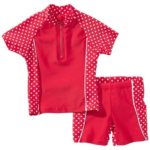 Playshoes Costume da bagno con puntini da due pezzi, Bambina, Rosso (Red/White Dots), 98/104