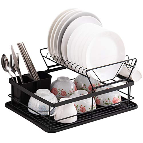 ORZ Dish Drainer Plate Drying Rack with Drip Tray 2-Tier Utensils Rack Cup Holder for Kitchen Counter-top, Metal Black
