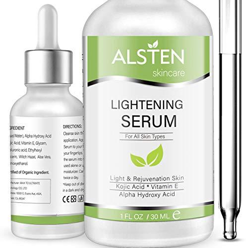 Lightening Serum with Kojic Acid, Dark Spot Corrector Remover Serum, Circle, Fine Line and Sun Damage Corrector Skin Lightener for Face and Body (1 FL. OZ)
