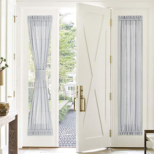 PONY DANCE Door Window Curtain - 30 x 72 in Light Grey Sidelight Sheer Curtain Light Filter French Door Blinds Top and Bottom Rod Pocket Voile for Glass Door, 1 Panel