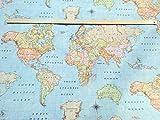Mapa del mundo 3funda cortina para tapicería Material tela de algodón–140cm de ancho (se vende por metros)