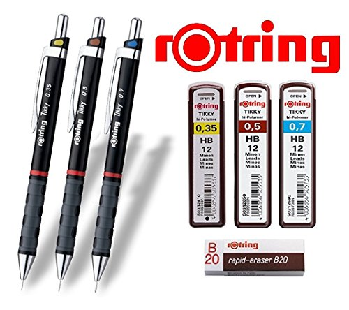 rOtring Tikky 3er Set mit Colourcode 0,35/0,5/0,7 mm (inkl. 3 Dosen Ersatzminen HB + Radierer B20)