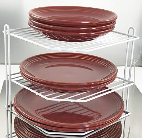 Buckingham 3 Tier Corner Plate Kitchen Cupboard Organiser Tidy Storage Rack, Steel, White, 23 cm