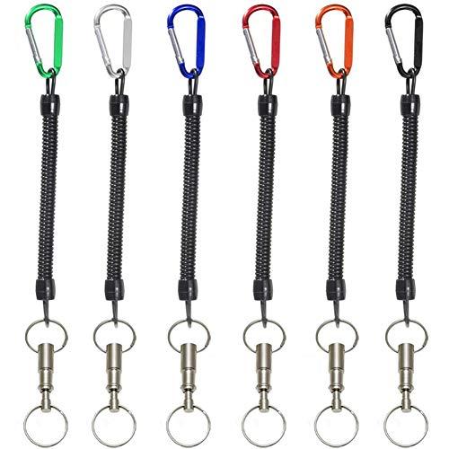 CHEPL Spiral Schlüsselanhänger 6 Stück Elastisch Angeln Lanyards mit Farbigem Karabiner Ausziehbarer Schlüsselanhänger für Geldbörse, Handy, Rucksack, Wandern,Angeln Angehen Zubehör