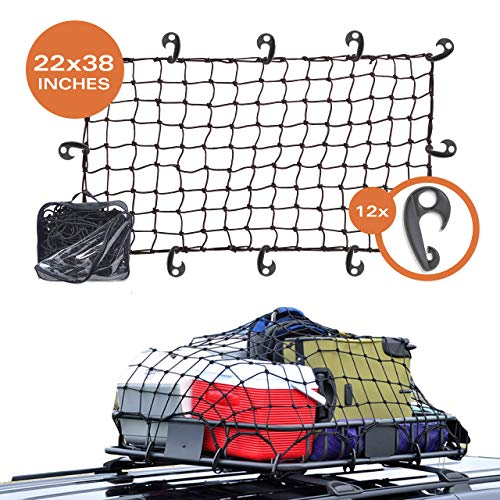22quotx38quot Super Duty Bungee Cargo Net Stretches to 44quotx76quot | Small 2quotx2quot Mesh Holds Small and Large Loads Tighter | 12 Adjustable Hooks | for Rooftop Cargo Carrier ATV UTV Cargo Hitch