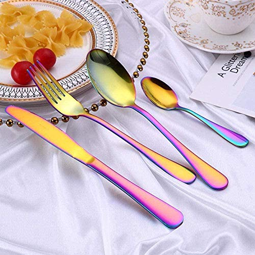 WHWH Retro Geschirr,Hotel Supplies Tableware high-Grade Stainless Steel-Colorful