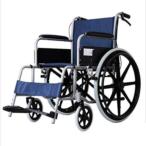 Wheelchair Scooter Ligero autopropulsado Plegable para Silla de Ruedas, Pedales Ajustables con Freno de Mano y pasamanos Ajustable