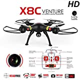 SYMA X8C 2.4G 4CH 2.0MP HD Camera 6-Axis Gyro RTF RC Quadcopter with Extra 2pcs Batteries (white+ extra batteries*2) (Black)