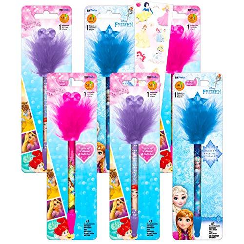 Disney Princess Pens Ultimate Bundle - 6 Pack Princess School Supplies Office Decor Disney Princess Pom Pom Pens Elsa, Anna, Ariel, Belle, And More (Disney Princess Party Supplies)