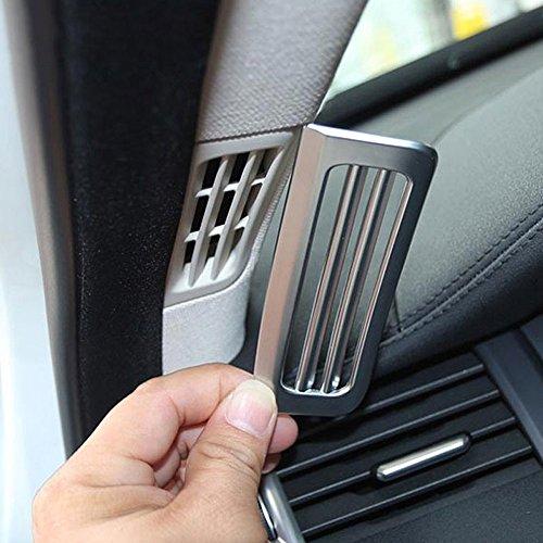 2 piezas de rejilla de ventilación de coche ABS plateado mate un pilar para ventilación de aire acondicionado cubierta 3D pegatinas partes accesorio para Rangerover Evoque 2012-2018