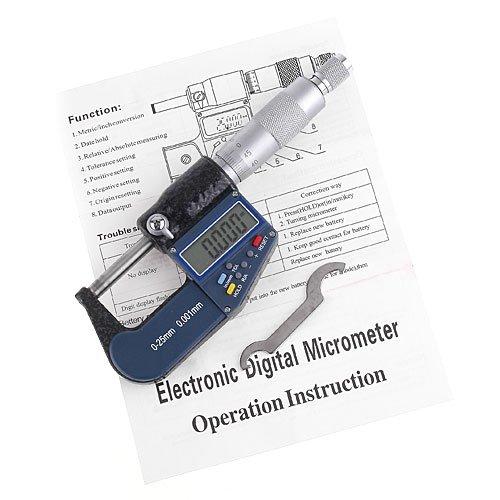 KKmoon LCD Micromètre Electronique Numérique de Haute Précision, Micromètre Palmer d'Extérieur Standard, Métrique/Pouce, Set Outil Pour Machiniste, Résolution 0.001 mm Précision 0.002 mm