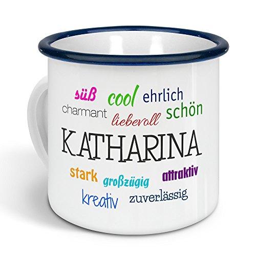 printplanet - Emaille-Tasse mit Namen Katharina - Metallbecher mit Design Positive Eigenschaften - Nostalgie-Becher, Camping-Tasse, Blechtasse, Farbe Blau, 300ml