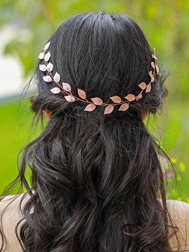 FXmimior Bridal Silver leaf Headband Wedding Headpiece Bridal Flower Crownwoodland Headband Bridal Headpiece Wedding Hair Accessories (rose gold)