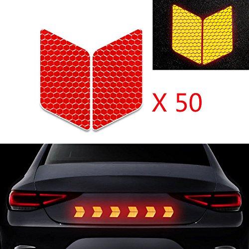 50x Alta Intensidad Pegatina Cinta Reflectante Autoadhesivo para Camión de la Motocicleta del Barco de la Bici del Casco del Remolque del Coche Forma de Diamante Rojo