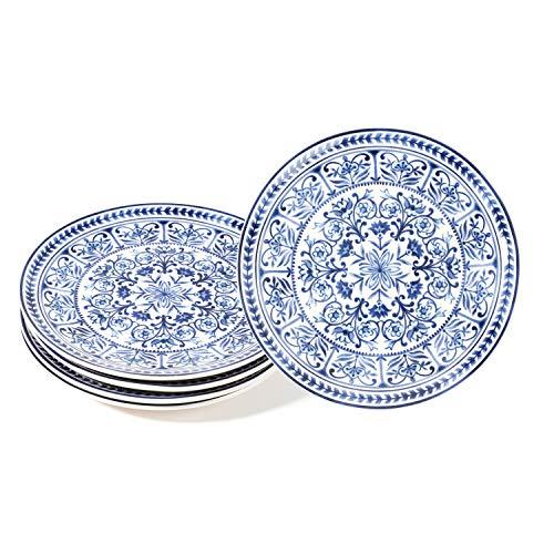 Sonemone Blue Marrakesh Tile Floral 8.75 inch Scalloped Salad Plates, Set of 4, for Salad, Appetizer, Microwave & Dishwasher Safe