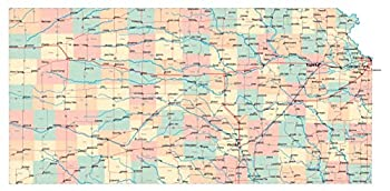 Large Administrative map of Kansas State with Roads Highways and Cities Vivid Imagery Laminated Poster Print-20 Inch by 30 Inch Laminated Poster With Bright Colors