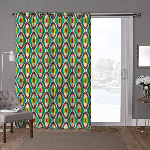 YUAZHOQI cortinas aisladas para puerta corredera, vintage, Groovy Bauhaus Art Tile, W100 x L84 pulgadas cortinas de cristal para ventana (1 panel)